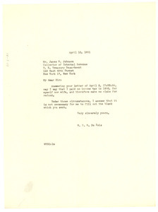 Letter from W. E. B. Du Bois to United States Internal Revenue Service