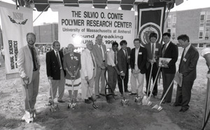 Ceremonial groundbreaking: group of polymer scientists including Corinne Conte (third from left) and Dick Stein (fourth from left)