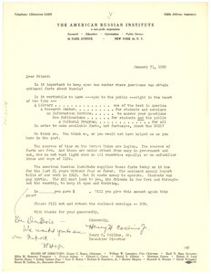 Circular letter from American Russian Institute to W. E. B. Du Bois