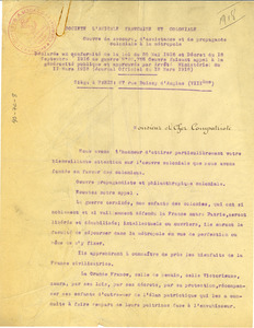 Fundraising letter from the Societe L'Amicale Francaise Et Coloniale
