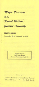 Major decisions of the United Nations general assembly