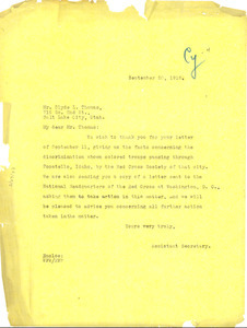 Letter from National Association for the Advancement of Colored People to Clyde L. Thomas