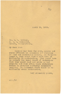 Letter from W. E. B. Du Bois to W. C. Wallace