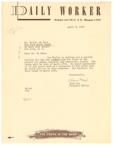 Letter from Daily Worker to W. E. B. Du Bois
