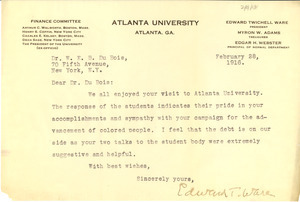 Letter from Edward T. Ware to W. E. B. Du Bois