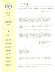 Circular letter from American Center of P.E.N. to W. E. B. Du Bois