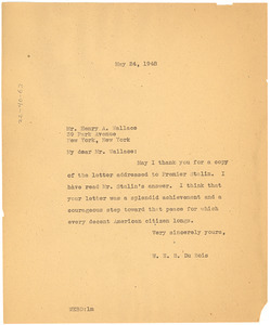 Letter from W. E. B. Du Bois to Henry A. Wallace