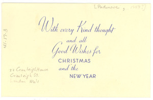 Greeting card from George Padmore to W. E. B. Du Bois