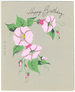 Birthday card from Mrs. George W. Roberts to W. E. B. Du Bois
