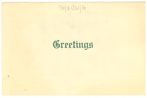 Greeting card from Holland and Flora Roberts to Shirley and W. E. B. Du Bois