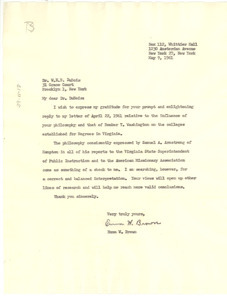 Letter from Emma W. Brown to W. E. B. Du Bois