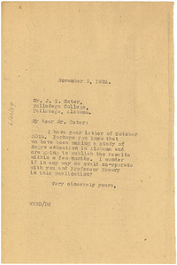 Letter from W. E. B. Du Bois to J. T. Cater