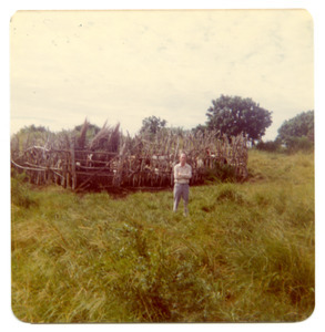 Cattle corral in village. Carl in So. Africa
