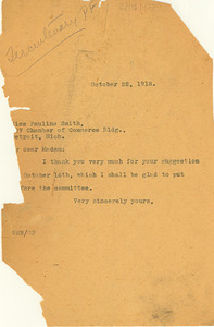 Letter from W. E. B. Du Bois to Pauline Smith