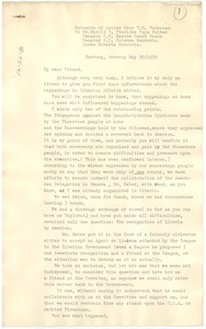 Extracts of letter from Thomas Buchanan to Harold D. Fredericks, Senator E. B. Reeves, Senator S. D. Coleman, and James Roberts