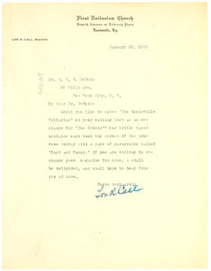 Letter from the First Unitarian Church to W. E. B. Du Bois