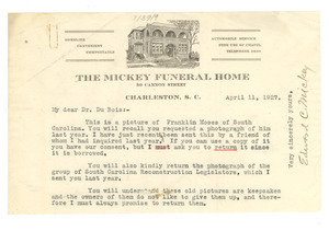 Letter from E. C. Mickey to W. E. B. Du Bois