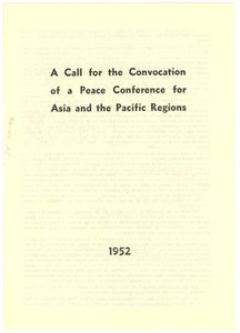 A call for the Convention of a Peace Conference for Asia and the Pacific Regions