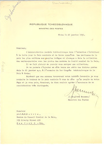 Letter from Czechoslovakia Ministry of Posts and Telecommunications to W. E. B. Du Bois
