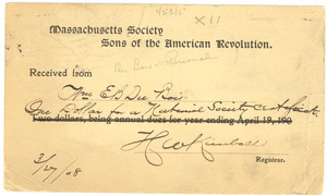 Receipt from the Massachusetts Society of the Sons of the American Revolution