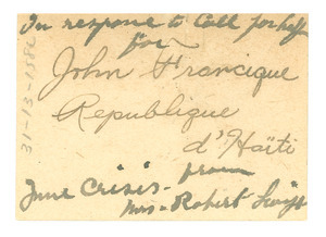 Letter from John Francique to unidentified correspondent