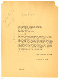 Letter from W. E. B. Du Bois to United Nations
