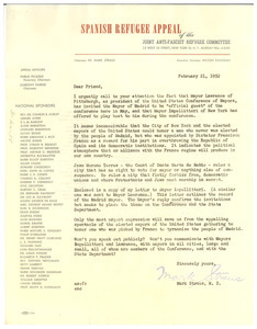 Circular letter from Joint Anti-Fascist Refugee Committee to W. E. B. Du Bois
