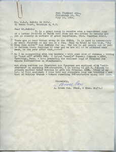 Letter from A. Bruce Cox to W. E. B. Du Bois