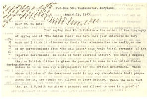 Letter from Anna Melissa Graves to W. E. B. Du Bois