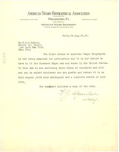 Letter from American Negro Biographical Association to W. E. B. Du Bois