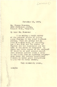 Letter from W. E. B. Du Bois to Thomas Newsome