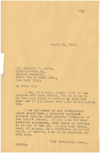 Letter from W. E. B. Du Bois to Stanley F. White