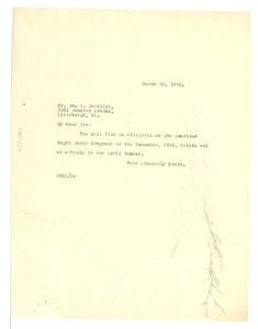 Letter from W. E. B. Du Bois to William S. Randolph