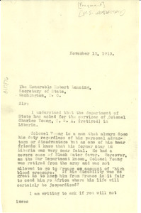 Letter from W. E. B. Du Bois to United States Department of State [fragment]