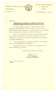 Letter from Ghana Young Pioneers to Mrs. W. E. B. Du Bois