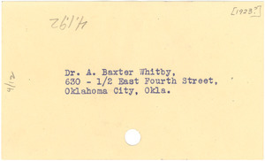 Address for Dr. A. Baxter Whitby