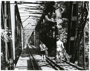 Bicyclists on trestle