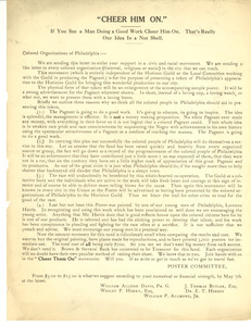 Circular letter from the Cheer Them on Poster Committee to Colored Organizations of Philadelphia