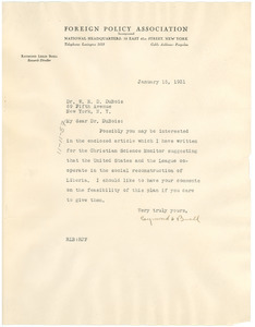 Letter from Foreign Policy Association to W. E. B. Du Bois