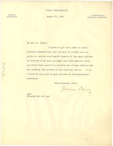 Letter from Jerome Davis to W. E. B. Du Bois