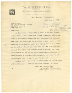 Letter from The Burleigh Club to W. E. B. Du Bois