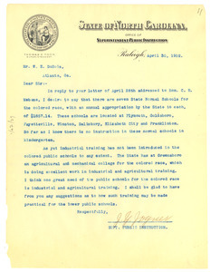 Letter from State of North Carolina to W. E. B. Du Bois