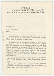 Appeal to the United Nations and to the peoples of the world