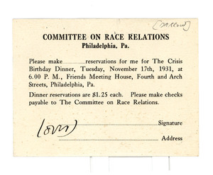 Letter from Clarence Darrow to Committee on Race Relations
