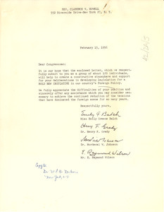 Letter from Emily Greene Balch, Henry F. Grady, Mordecai W. Johnson, and E. Raymond Wilson to Rev. Clarence V. Howell