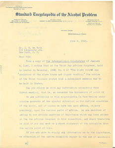 Letter from Standard Encyclopedia of the Alcohol Problem to W. E. B. Du Bois