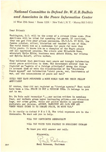 Circular letter from National Committee to Defend Dr. W. E. B. Du Bois and Associates in the Peace Information Center