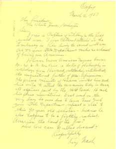 Letter from Roy Nash to United States President