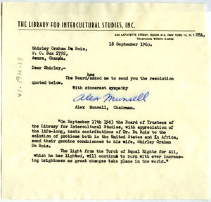 Letter from Library for Intercultural Studies, Inc. to Shirley Graham