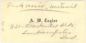 Business card for Alva W. Taylor